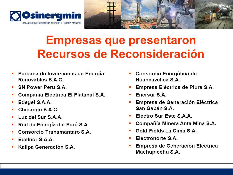 Empresas que presentaron Recursos de Reconsideración Peruana de Inversiones en Energía Renovables S.A.C. SN Power Peru S.A. Compañía Eléctrica El Plat