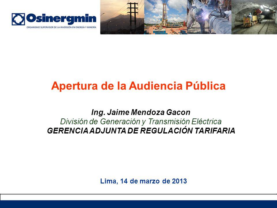 Apertura de la Audiencia Pública Lima, 14 de marzo de 2013 Ing.