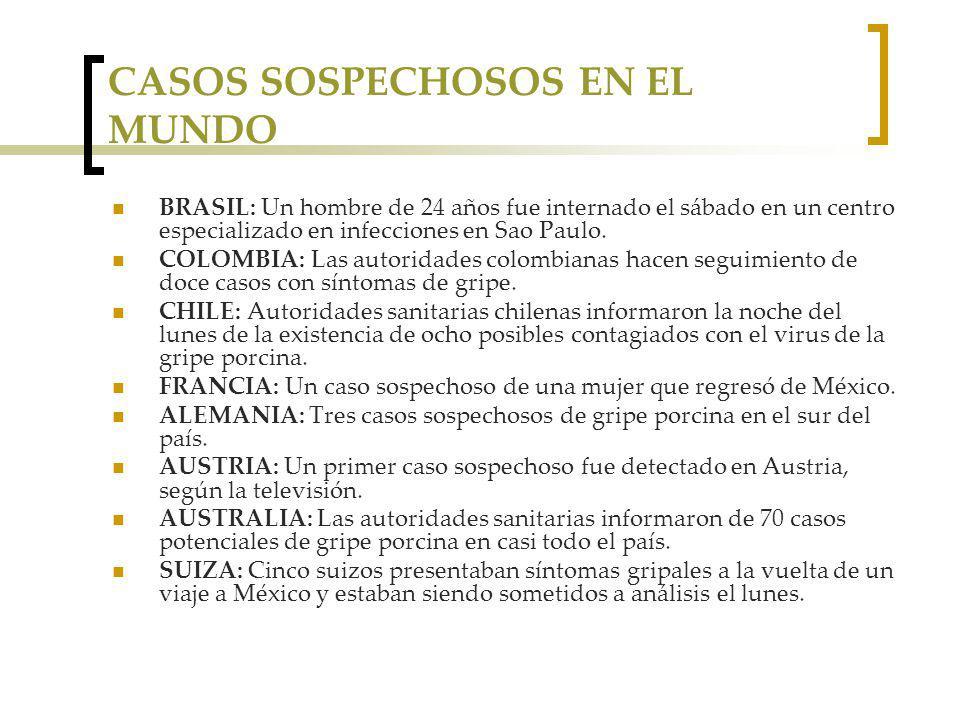 CASOS SOSPECHOSOS EN EL MUNDO BRASIL: Un hombre de 24 años fue internado el sábado en un centro especializado en infecciones en Sao Paulo.