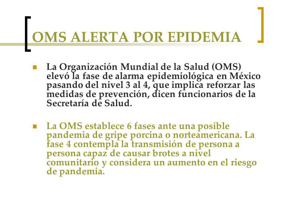 OMS ALERTA POR EPIDEMIA La Organización Mundial de la Salud (OMS) elevó la fase de alarma epidemiológica en México pasando del nivel 3 al 4, que implica reforzar las medidas de prevención, dicen funcionarios de la Secretaría de Salud.