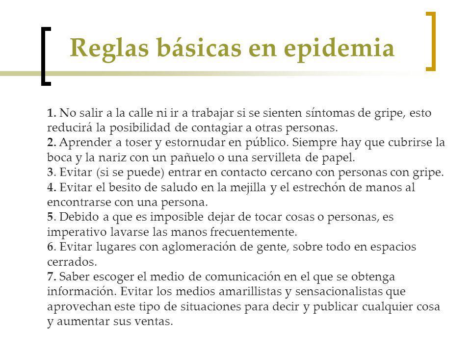 Reglas básicas en epidemia 1.