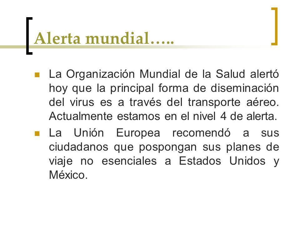Alerta mundial….. La Organización Mundial de la Salud alertó hoy que la principal forma de diseminación del virus es a través del transporte aéreo. Ac