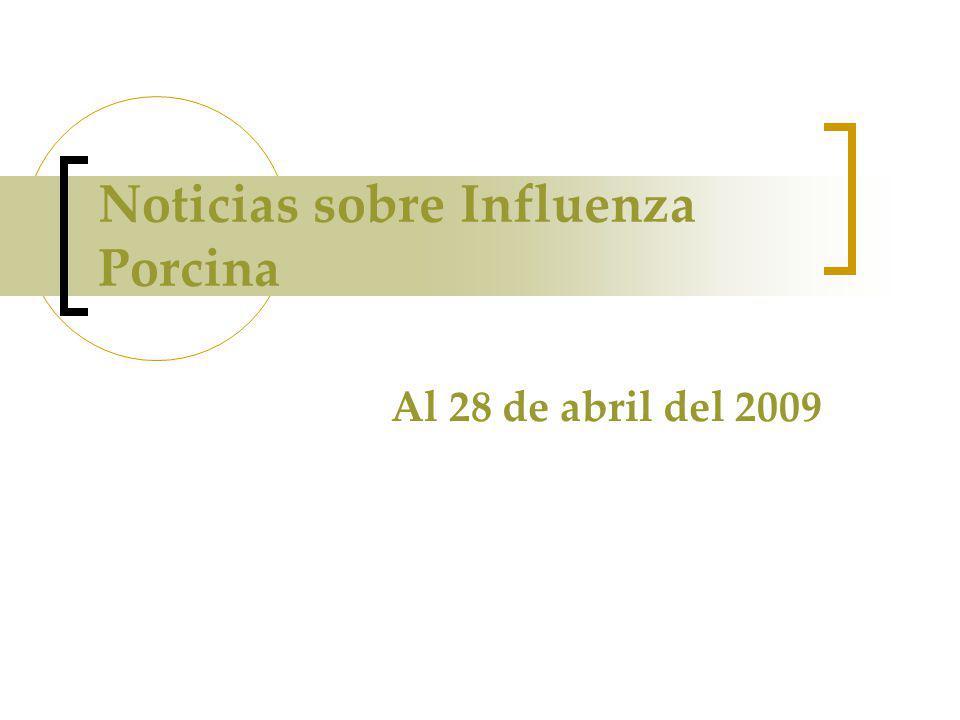 Noticias sobre Influenza Porcina Al 28 de abril del 2009