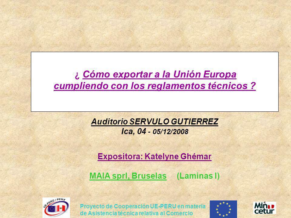 Proyecto de Cooperación UE-PERU en materia de Asistencia técnica relativa al Comercio 2 INDICE 1.Introducción 2.La libre circulación de mercancías en la UE 3.Exportar un producto a la UE: requisitos técnicos obligatorios para los productos peruanos 4.Herramientas de información 5.Casos prácticos: requisitos específicos