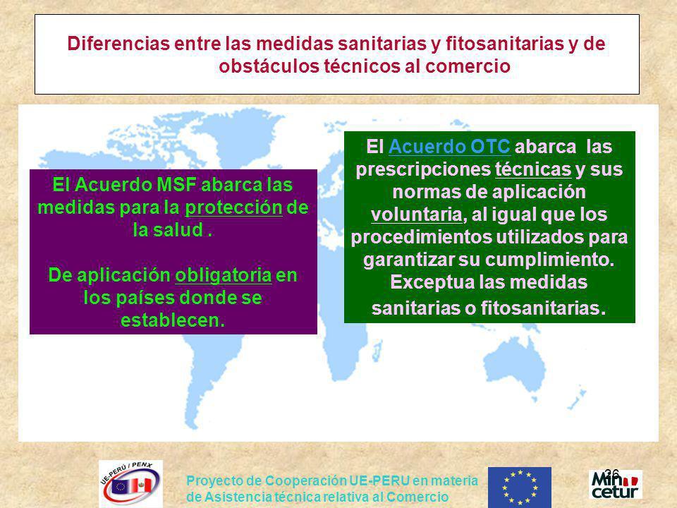 Proyecto de Cooperación UE-PERU en materia de Asistencia técnica relativa al Comercio 26 El Acuerdo MSF abarca las medidas para la protección de la sa