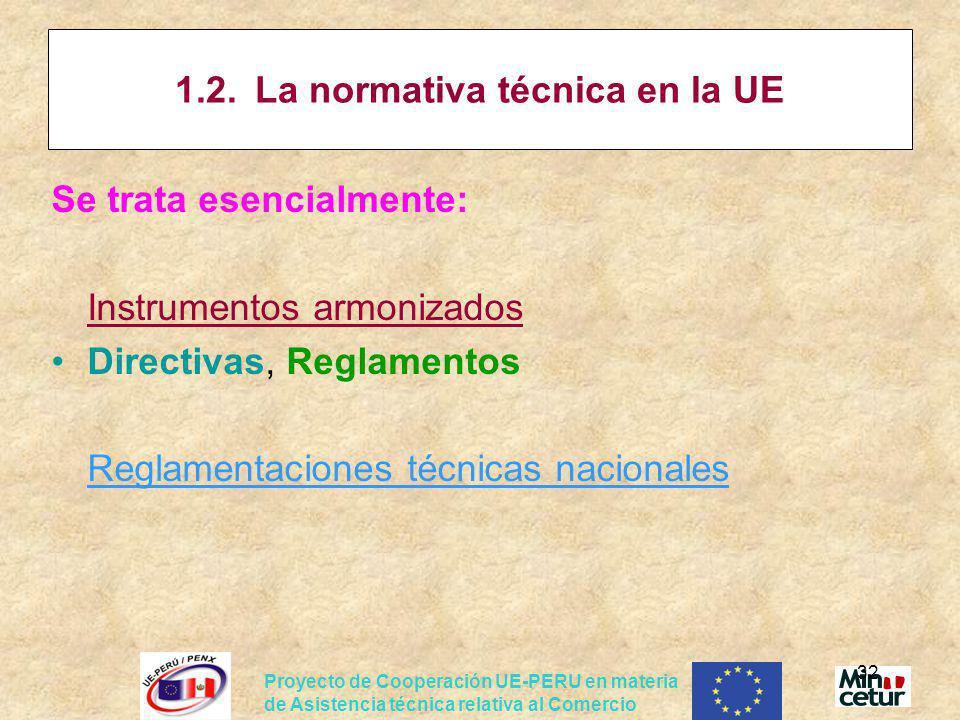 Proyecto de Cooperación UE-PERU en materia de Asistencia técnica relativa al Comercio 32 1.2.La normativa técnica en la UE Se trata esencialmente: Ins