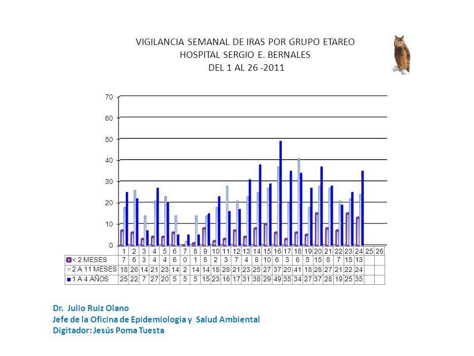Dr. Julio Ruiz Olano Jefe de la Oficina de Epidemiologia y Salud Ambiental Digitador: Jesús Poma Tuesta