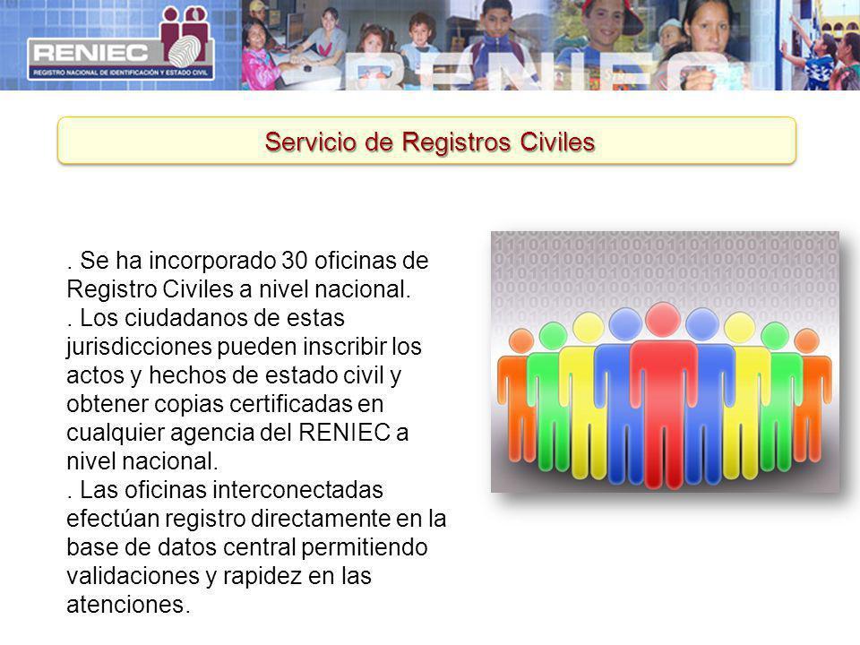 Servicio de Registros Civiles. Se ha incorporado 30 oficinas de Registro Civiles a nivel nacional.. Los ciudadanos de estas jurisdicciones pueden insc