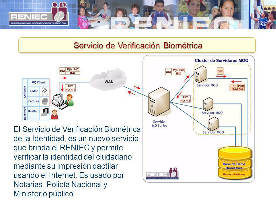13 El Servicio de Verificación Biométrica de la Identidad, es un nuevo servicio que brinda el RENIEC y permite verificar la identidad del ciudadano me