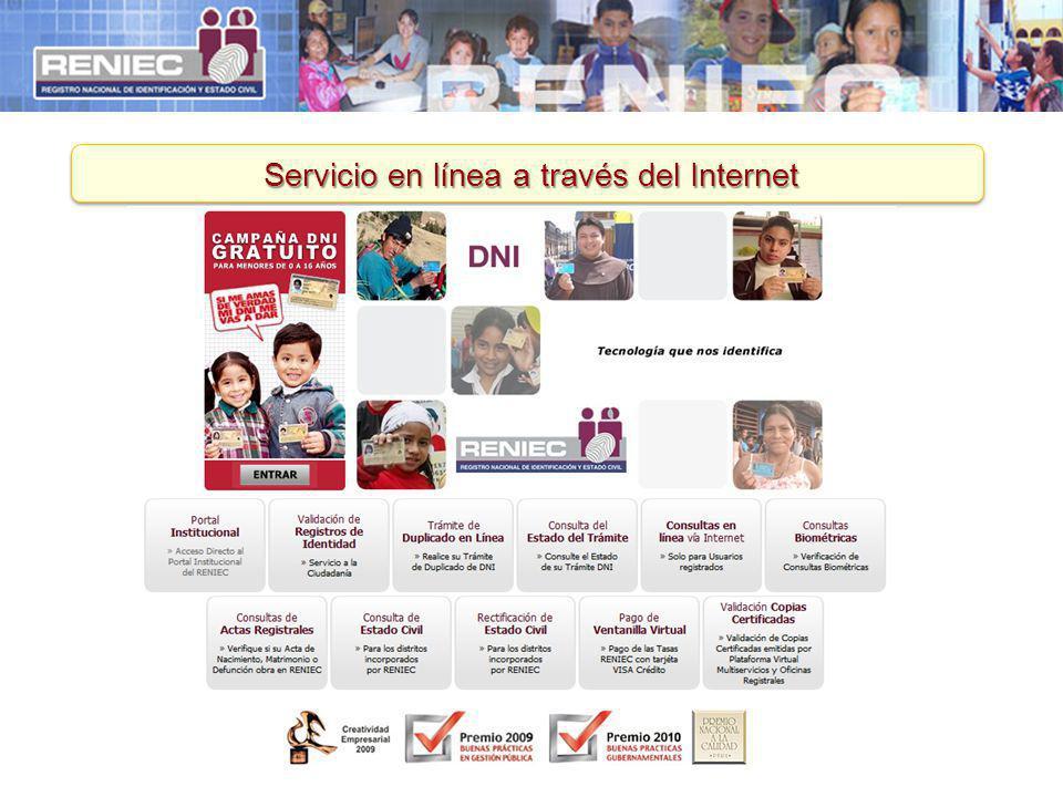 Servicio en línea a través del Internet