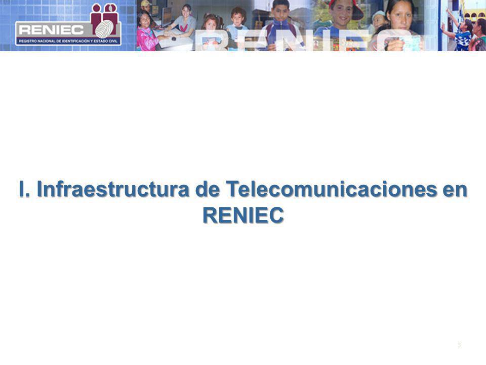 Interconexión a nivel nacional La Red de Datos de RENIEC, tiene las siguientes características: Se cuenta con 146 Sedes interconectadas a Nivel Nacional El ancho de banda de los enlaces de datos de las agencias fluctúan entre 384Kbps y 2Mbps.