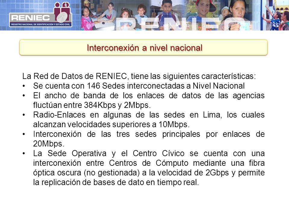 Interconexión a nivel nacional La Red de Datos de RENIEC, tiene las siguientes características: Se cuenta con 146 Sedes interconectadas a Nivel Nacion