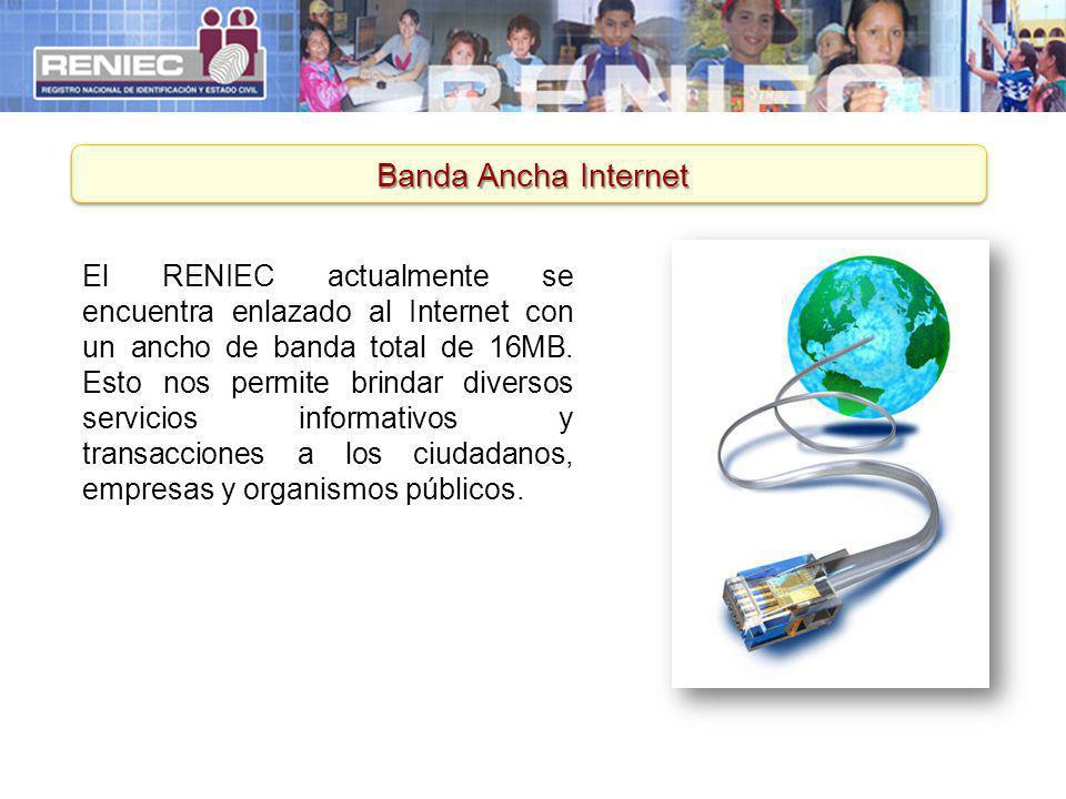 Banda Ancha Internet El RENIEC actualmente se encuentra enlazado al Internet con un ancho de banda total de 16MB. Esto nos permite brindar diversos se