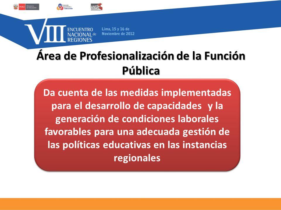 Da cuenta de las medidas implementadas para el desarrollo de capacidades y la generación de condiciones laborales favorables para una adecuada gestión de las políticas educativas en las instancias regionales Área de Profesionalización de la Función Pública