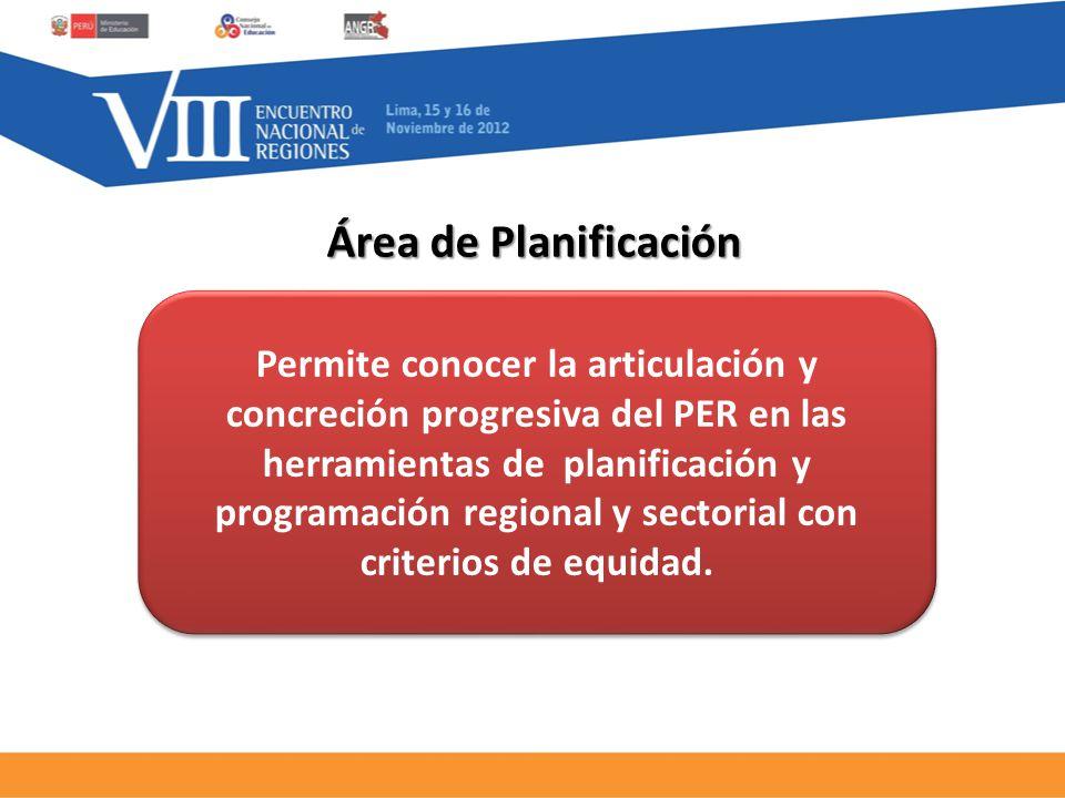 Área de Planificación Permite conocer la articulación y concreción progresiva del PER en las herramientas de planificación y programación regional y sectorial con criterios de equidad.