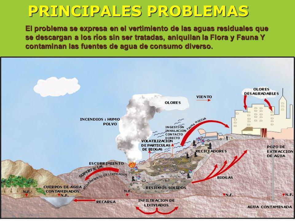 El problema se expresa en el vertimiento de las aguas residuales que se descargan a los ríos sin ser tratadas, aniquilan la Flora y Fauna Y contaminan