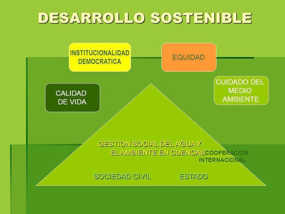 DESARROLLO SOSTENIBLE GESTION SOCIAL DEL AGUA Y EL AMBIENTE EN CUENCAS EL AMBIENTE EN CUENCAS COOPERACION INTERNACIONAL SOCIEDAD CIVILESTADO SOCIEDAD