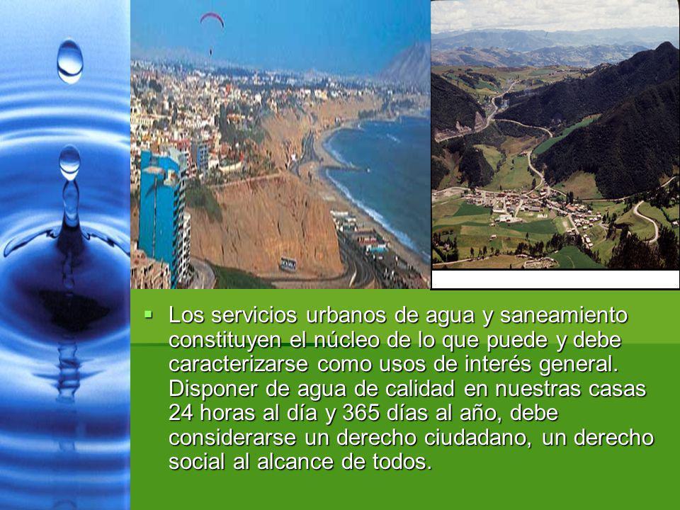 Los servicios urbanos de agua y saneamiento constituyen el núcleo de lo que puede y debe caracterizarse como usos de interés general. Disponer de agua