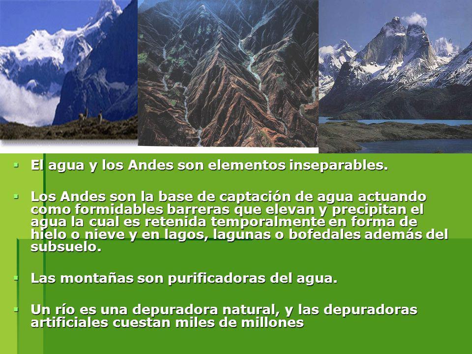El agua y los Andes son elementos inseparables. El agua y los Andes son elementos inseparables. Los Andes son la base de captación de agua actuando co