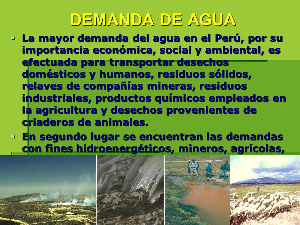 DEMANDA DE AGUA La mayor demanda del agua en el Perú, por su importancia económica, social y ambiental, es efectuada para transportar desechos domésti