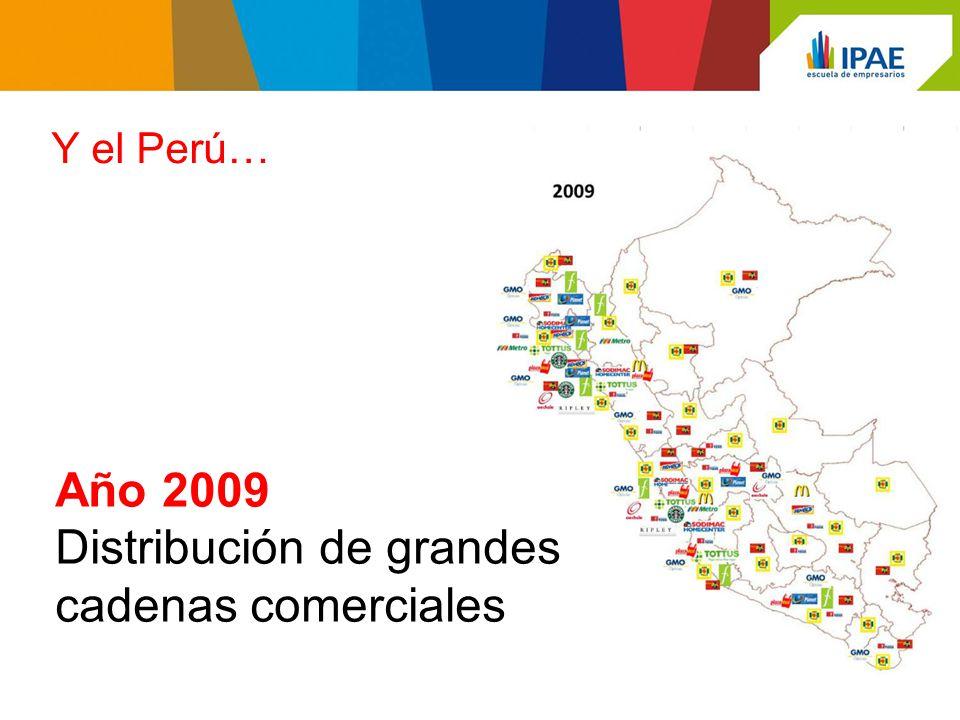 Año 2009 Distribución de grandes cadenas comerciales Y el Perú…