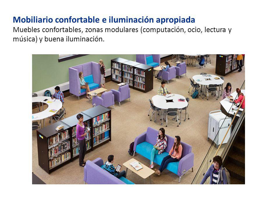 Mobiliario confortable e iluminación apropiada Muebles confortables, zonas modulares (computación, ocio, lectura y música) y buena iluminación.