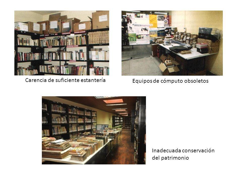 Inadecuada conservación del patrimonio Carencia de suficiente estantería Equipos de cómputo obsoletos