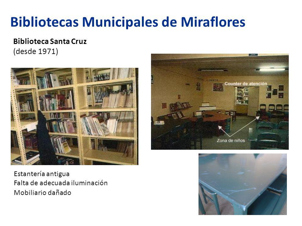 Bibliotecas Municipales de Miraflores Biblioteca Santa Cruz (desde 1971) Estantería antigua Falta de adecuada iluminación Mobiliario dañado