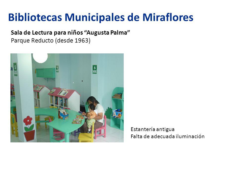 Bibliotecas Municipales de Miraflores Sala de Lectura para niños Augusta Palma Parque Reducto (desde 1963) Estantería antigua Falta de adecuada iluminación