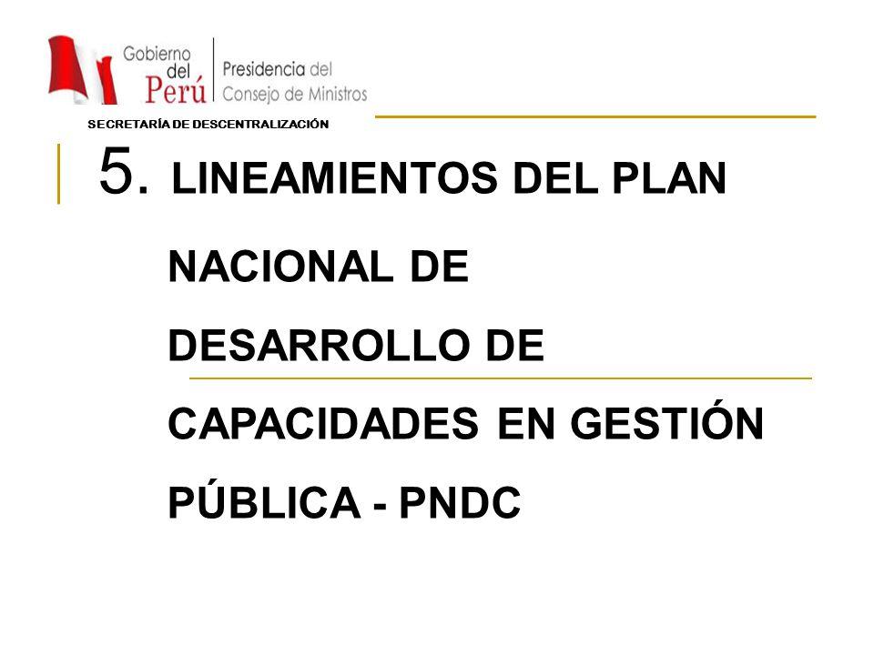 5. LINEAMIENTOS DEL PLAN NACIONAL DE DESARROLLO DE CAPACIDADES EN GESTIÓN PÚBLICA - PNDC SECRETARÍA DE DESCENTRALIZACIÓN