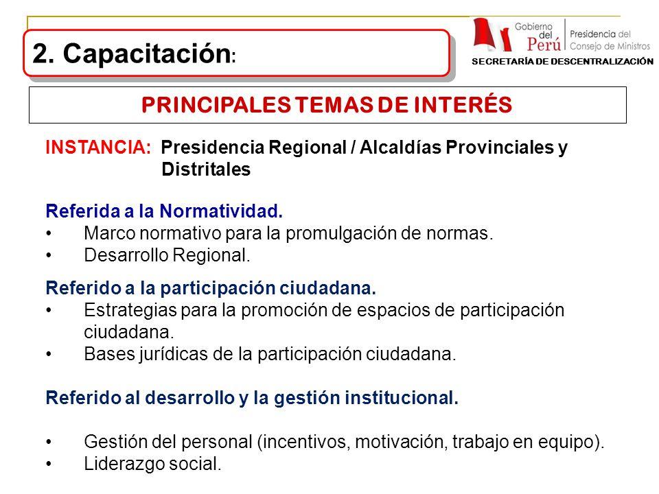 INSTANCIA: Presidencia Regional / Alcaldías Provinciales y Distritales Referida a la Normatividad. Marco normativo para la promulgación de normas. Des