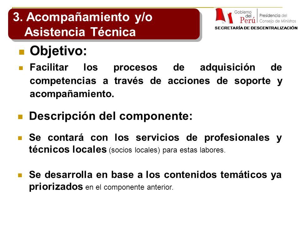 Objetivo: Facilitar los procesos de adquisición de competencias a través de acciones de soporte y acompañamiento. 3. Acompañamiento y/o Asistencia Téc
