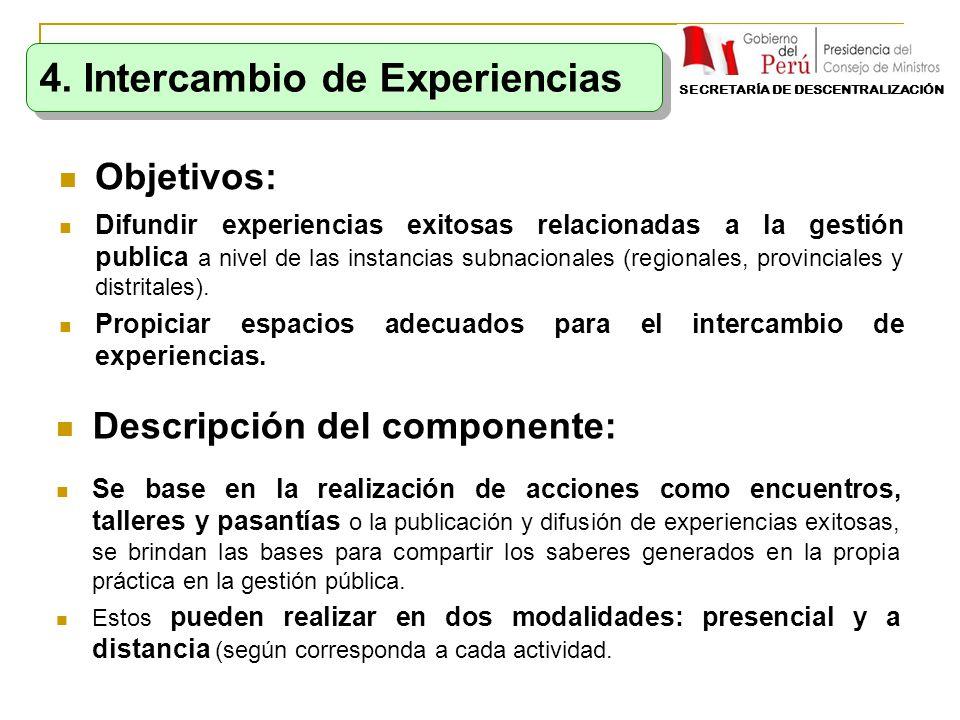 Objetivos: Difundir experiencias exitosas relacionadas a la gestión publica a nivel de las instancias subnacionales (regionales, provinciales y distri