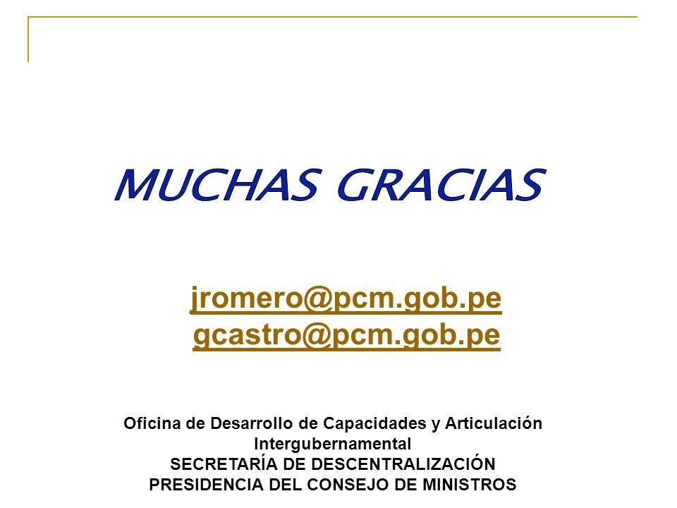jromero@pcm.gob.pe gcastro@pcm.gob.pe Oficina de Desarrollo de Capacidades y Articulación Intergubernamental SECRETARÍA DE DESCENTRALIZACIÓN PRESIDENC