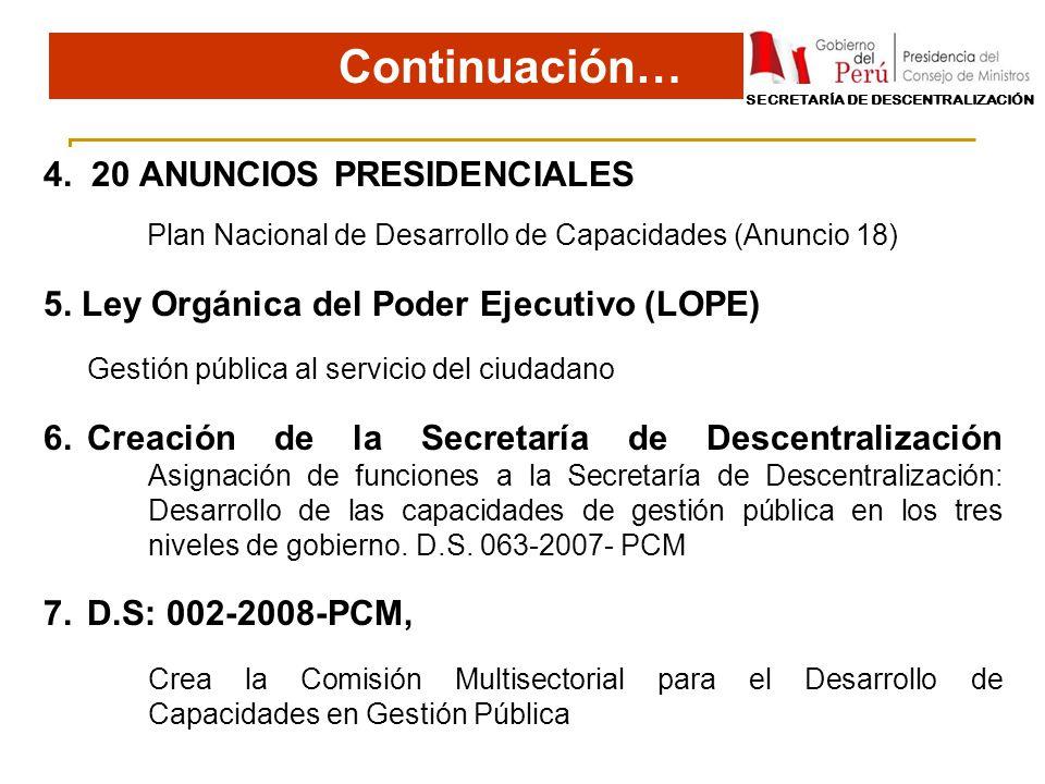4. 20 ANUNCIOS PRESIDENCIALES Plan Nacional de Desarrollo de Capacidades (Anuncio 18) 5. Ley Orgánica del Poder Ejecutivo (LOPE) Gestión pública al se