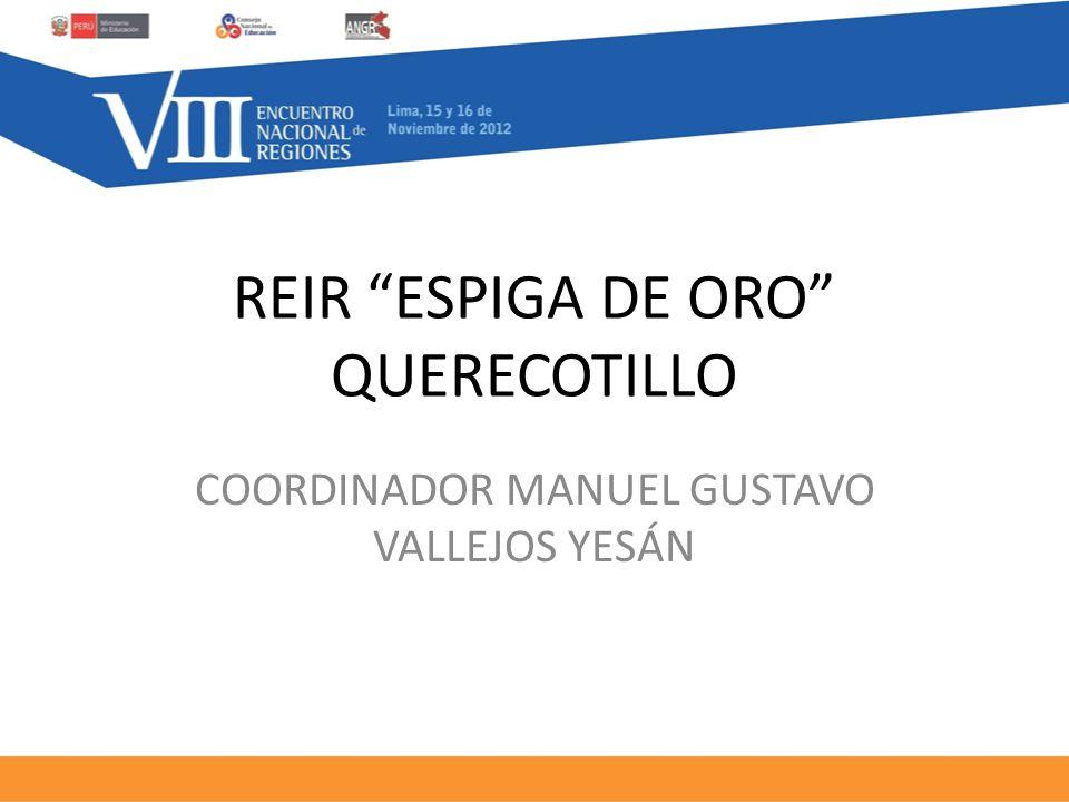 REIR ESPIGA DE ORO QUERECOTILLO COORDINADOR MANUEL GUSTAVO VALLEJOS YESÁN