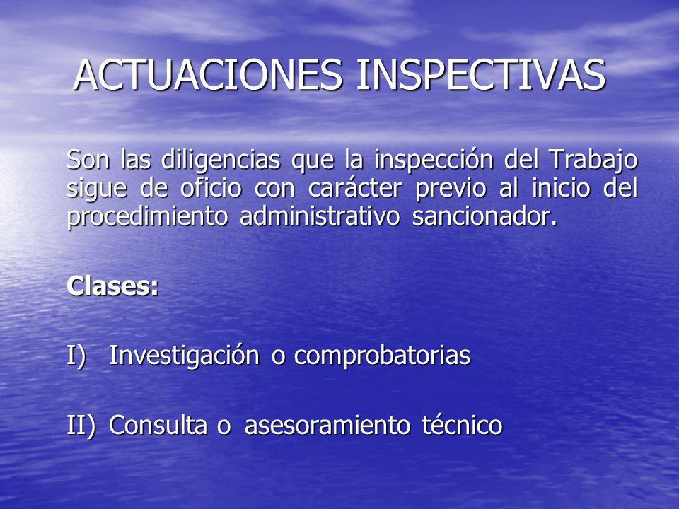ACTUACIONES INSPECTIVAS Son las diligencias que la inspección del Trabajo sigue de oficio con carácter previo al inicio del procedimiento administrati