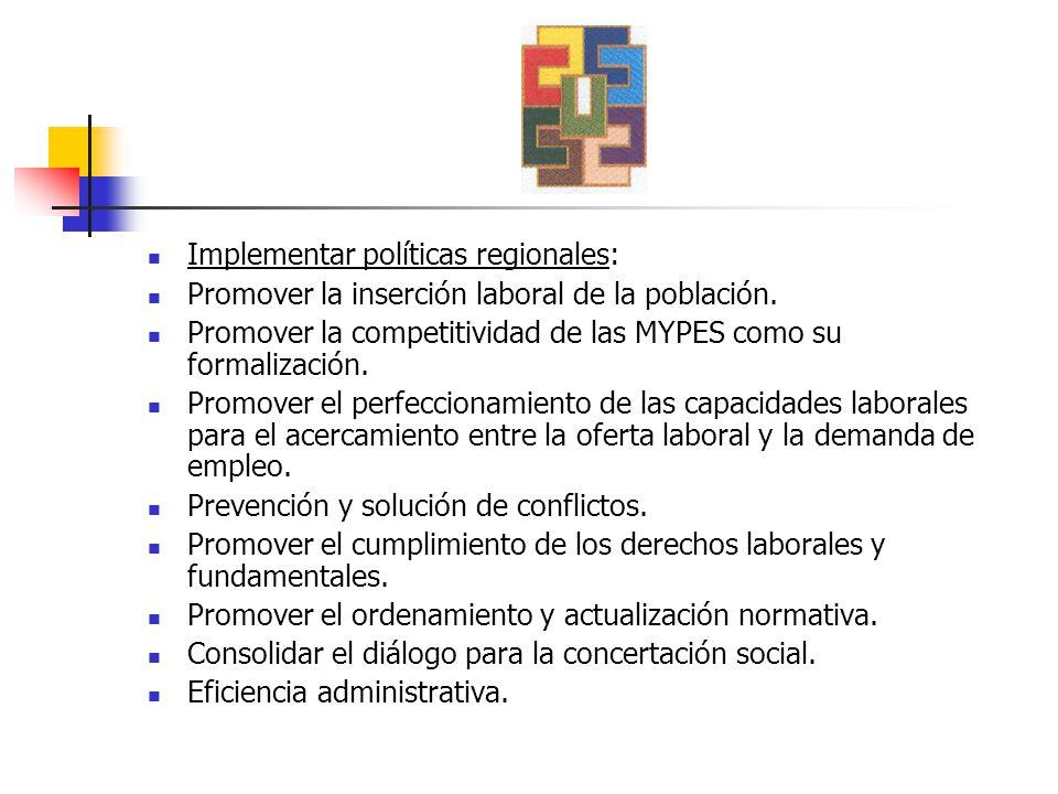 Implementar políticas regionales: Promover la inserción laboral de la población.