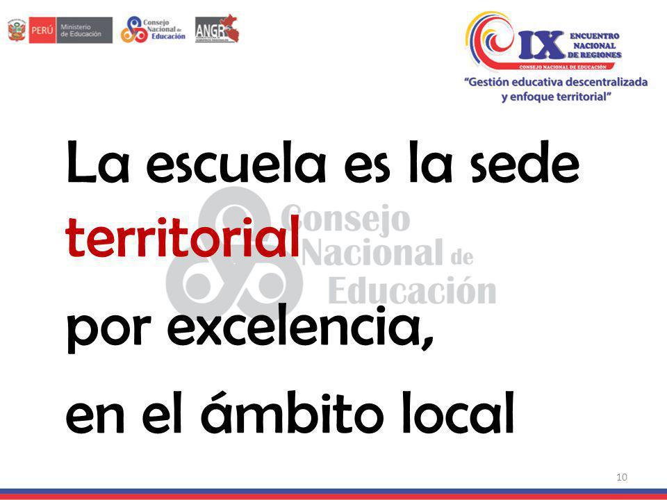 La escuela es la sede territorial por excelencia, en el ámbito local 10