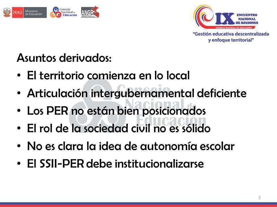 Asuntos derivados: El territorio comienza en lo local Articulación intergubernamental deficiente Los PER no están bien posicionados El rol de la socie