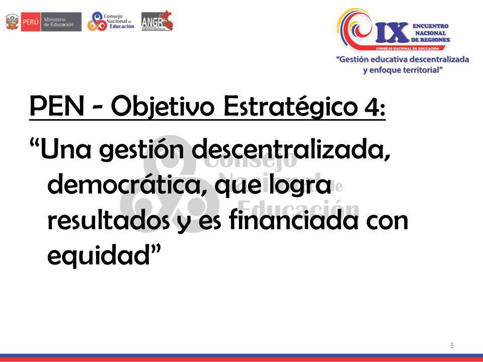 PEN - Objetivo Estratégico 4: Una gestión descentralizada, democrática, que logra resultados y es financiada con equidad 5