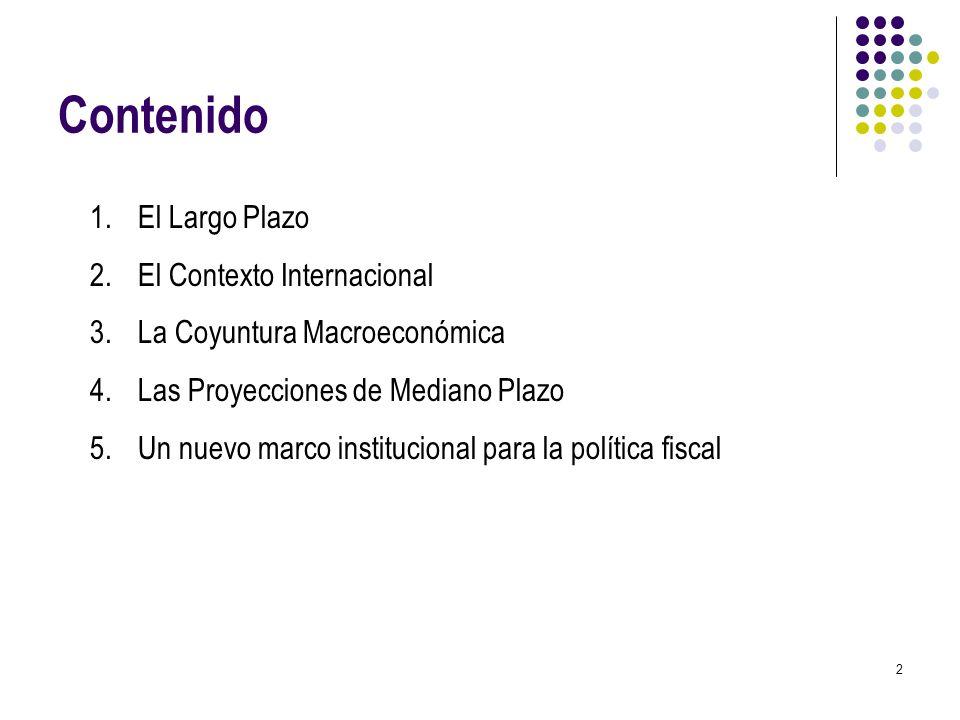2 Contenido 1.El Largo Plazo 2.El Contexto Internacional 3.La Coyuntura Macroeconómica 4.Las Proyecciones de Mediano Plazo 5.Un nuevo marco institucio