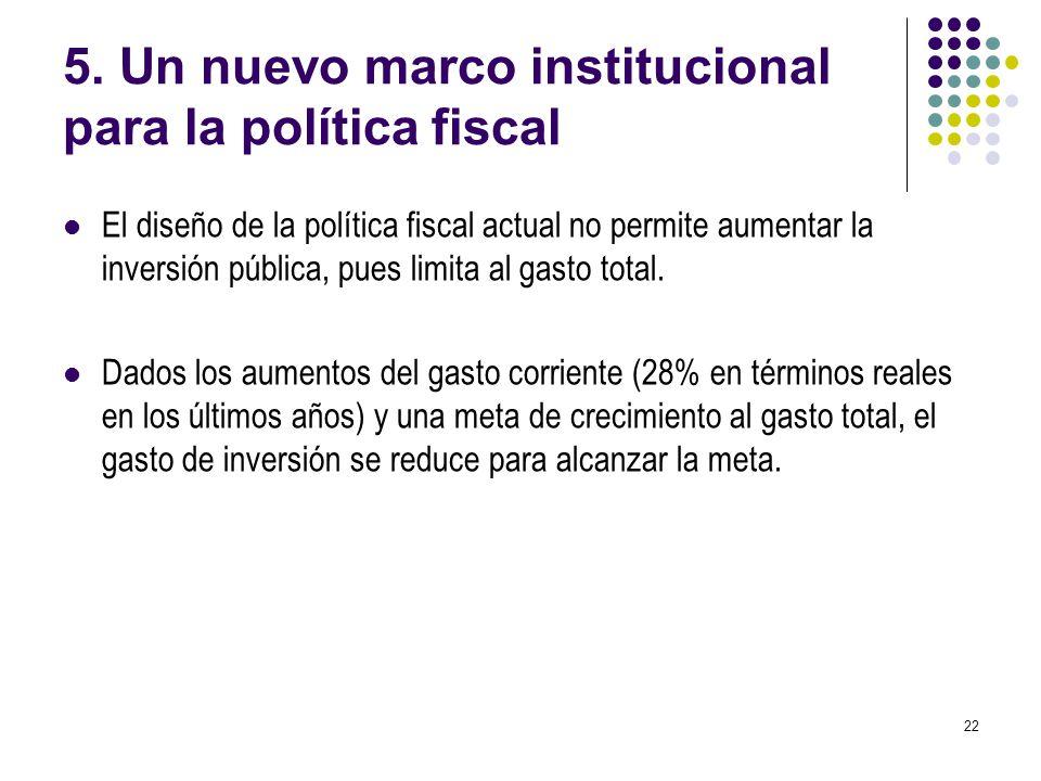 22 5. Un nuevo marco institucional para la política fiscal El diseño de la política fiscal actual no permite aumentar la inversión pública, pues limit
