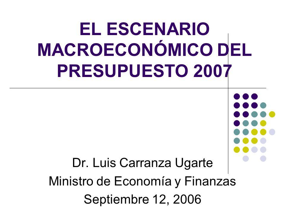 EL ESCENARIO MACROECONÓMICO DEL PRESUPUESTO 2007 Dr. Luis Carranza Ugarte Ministro de Economía y Finanzas Septiembre 12, 2006