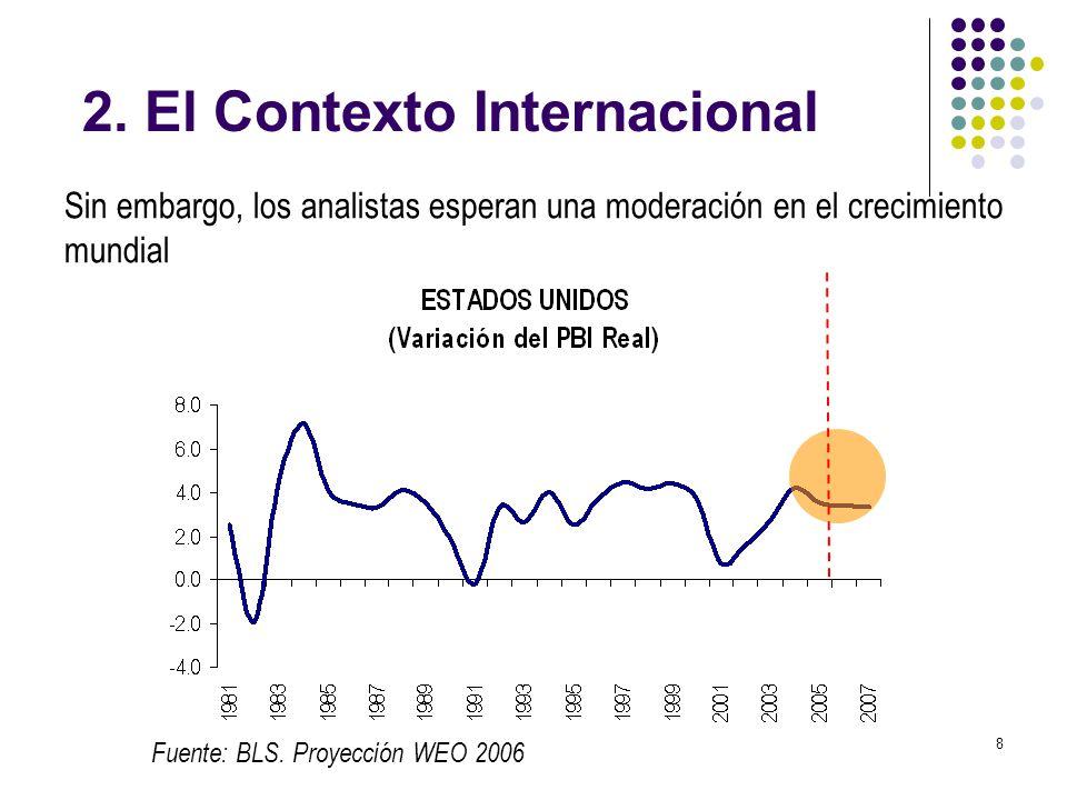 8 Sin embargo, los analistas esperan una moderación en el crecimiento mundial Fuente: BLS. Proyección WEO 2006 2. El Contexto Internacional