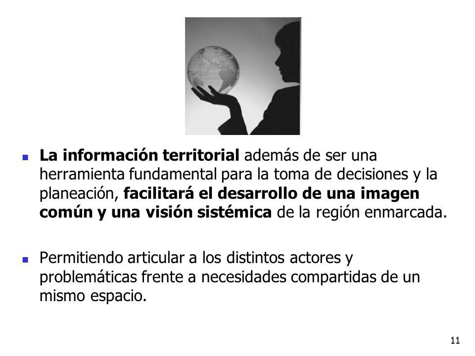 La información territorial además de ser una herramienta fundamental para la toma de decisiones y la planeación, facilitará el desarrollo de una image
