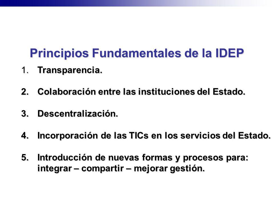 1. Transparencia. 2. Colaboración entre las instituciones del Estado. 3. Descentralización. 4. Incorporación de las TICs en los servicios del Estado.