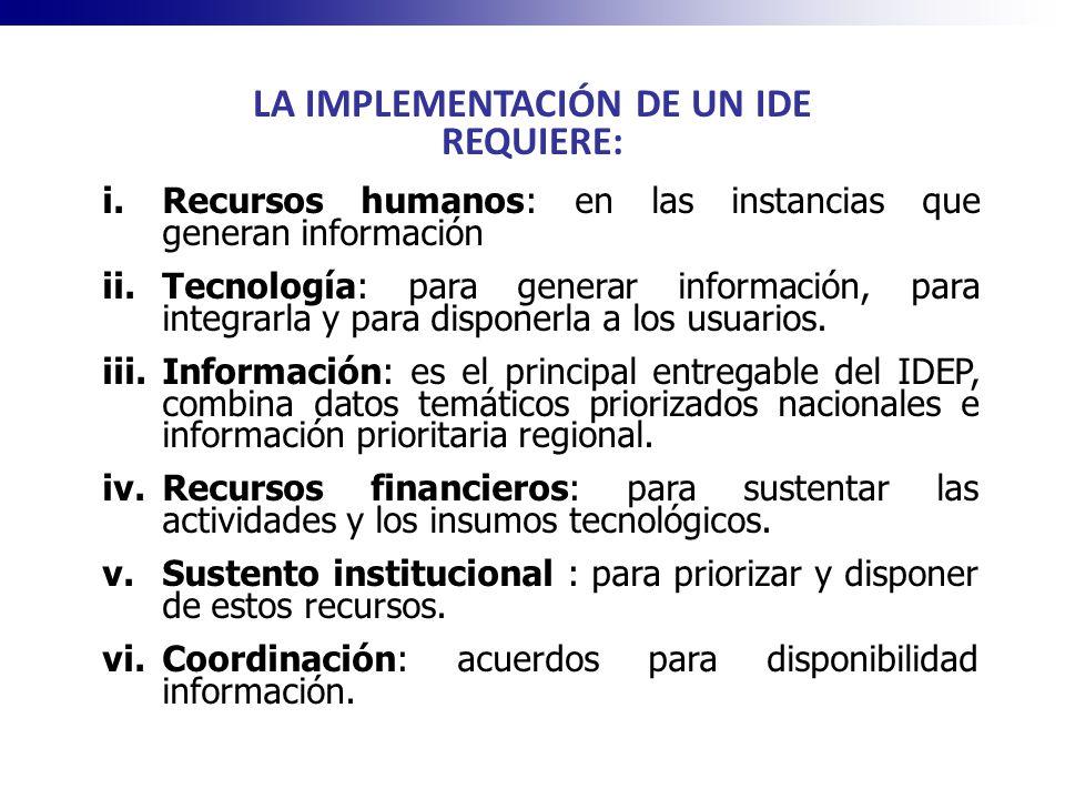 LA IMPLEMENTACIÓN DE UN IDE REQUIERE: i.Recursos humanos: en las instancias que generan información ii.Tecnología: para generar información, para inte