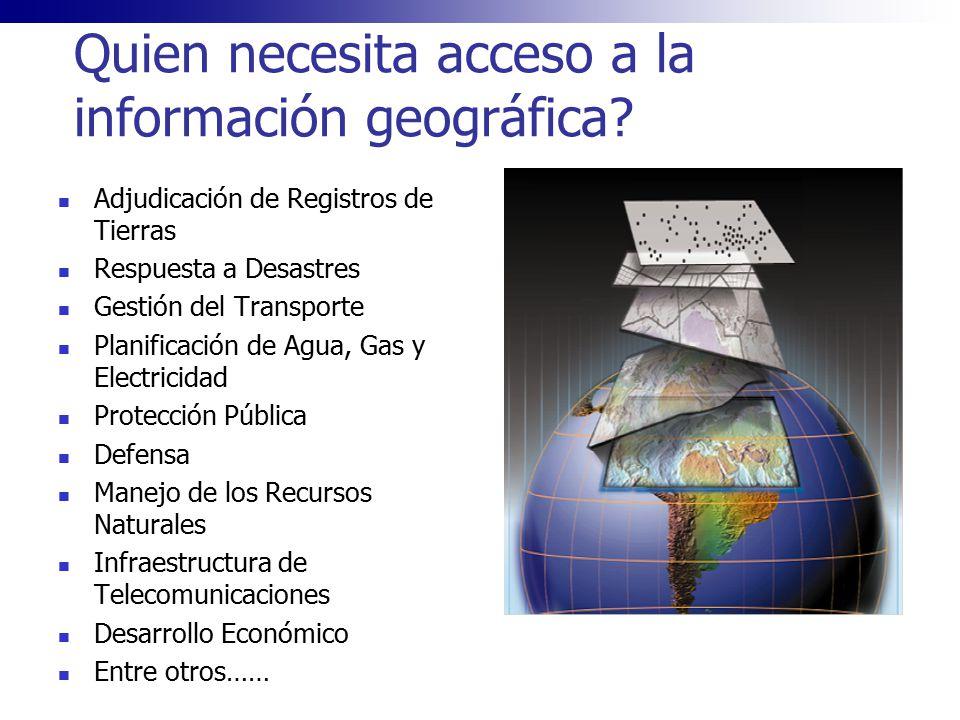 Quien necesita acceso a la información geográfica? Adjudicación de Registros de Tierras Respuesta a Desastres Gestión del Transporte Planificación de