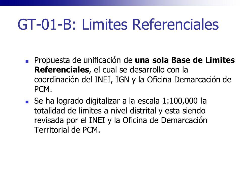 GT-01-B: Limites Referenciales Propuesta de unificación de una sola Base de Limites Referenciales, el cual se desarrollo con la coordinación del INEI,